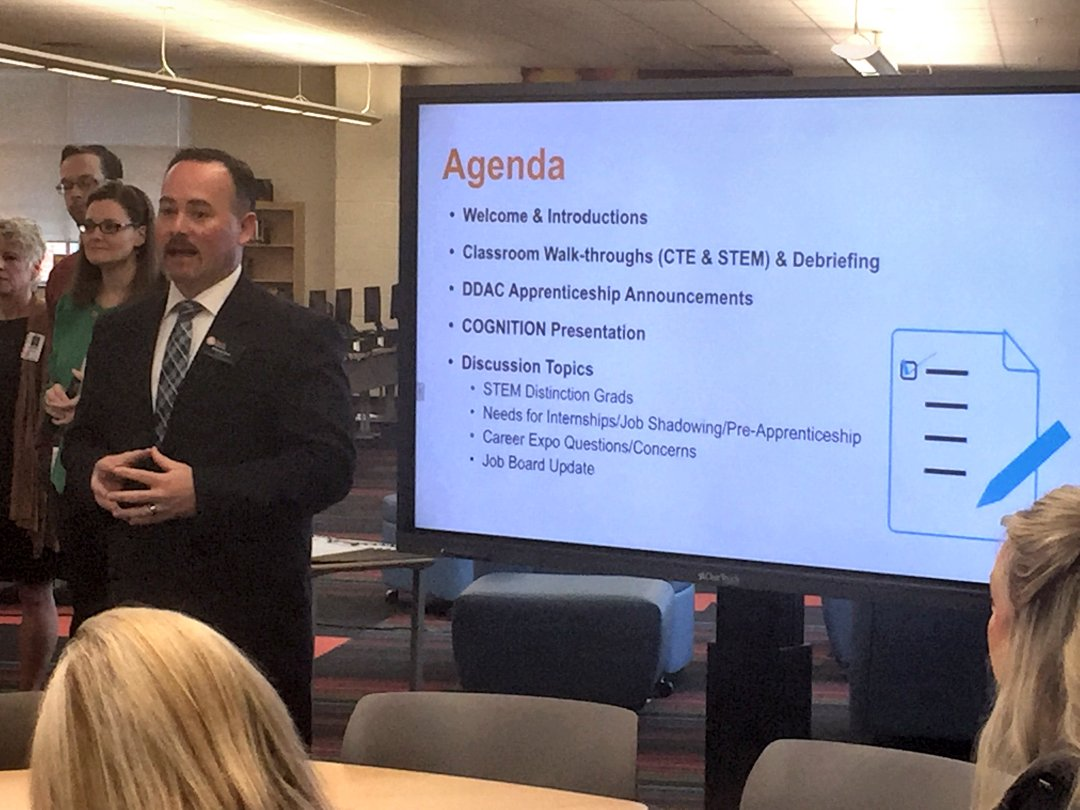 Anthony Davis, Director of Career and Technical Education and Federal Programs for Davie County Schools leads discussion during CTE/STEM Alliance Business Advisory Council meeting