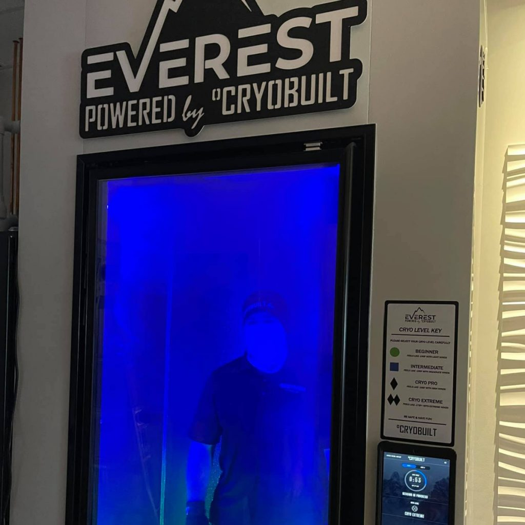 The Pro team gets a peek inside the EVEREST Cryotherapy Chamber's refrigeration system.
